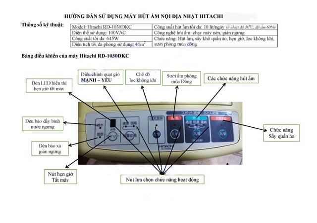 hướng dẫn cách sử dụng máy hút ẩm hitachi