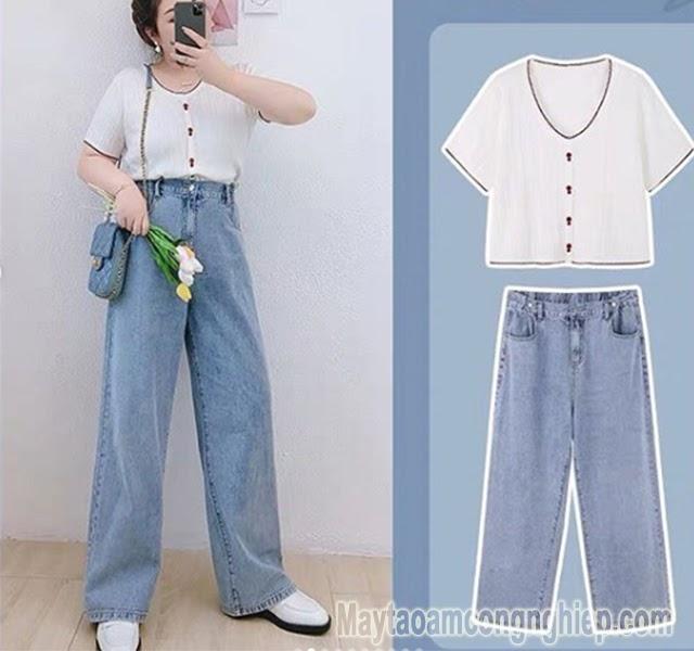 quần rộng áo thun thời trang dành cho người thấp